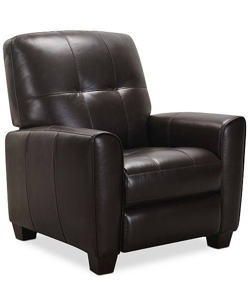 Kaleb Tufted Leather Recliner, Created for Macy's
