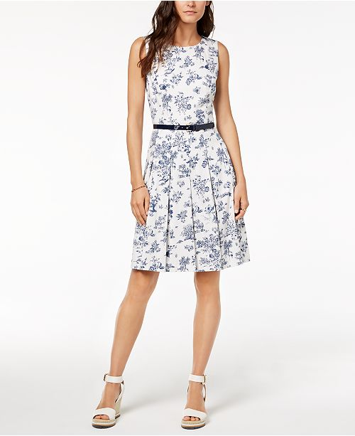 Tommy Hilfiger Pleated Fit & Flare Dress, Created for Macy's