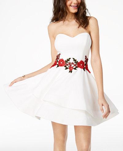 B Darlin Juniors' Embroidered Fit & Flare Dress