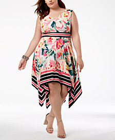 I.N.C. Plus Size Handkerchief-Hem Fit & Flare Dress, Created for Macy's