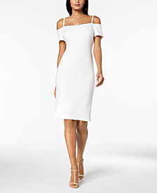 Calvin Klein Embellished Off-The-Shoulder Scuba Dress