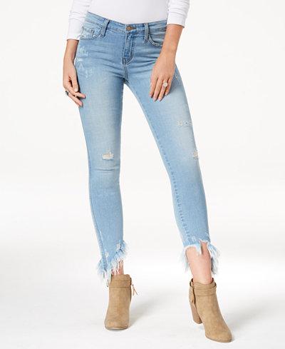 Flying Monkey Ripped Asymmetrical-Hem Skinny Jeans