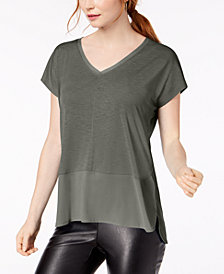 Bar III V-Neck Mixed-Media Mesh Top, Created for