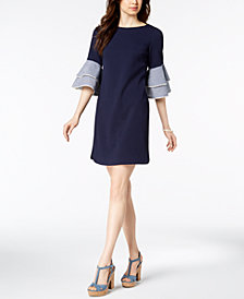Jessica Howard Solid & Gingham-Bell-Sleeve Dress, Regular & Petite Sizes
