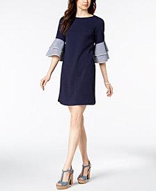 Jessica Howard Solid & Gingham-Bell-Sleeve Dress, Regular & Petite Sizes