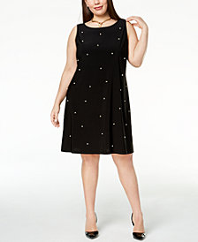 MSK Plus Size Imitation-Pearl Shift Dress