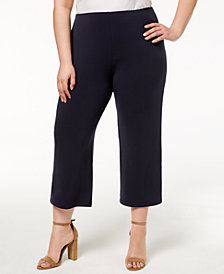 Alfani Plus Size Soft-Knit Dressing Culottes, Created for Macy's