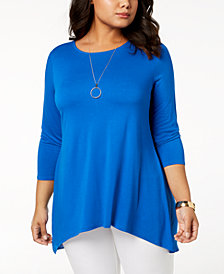 Alfani Plus Size Chiffon-Back Tunic, Created for Macy's