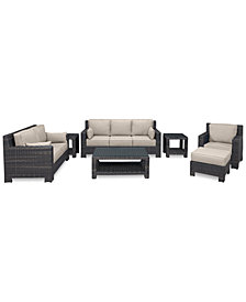 Viewport Outdoor Wicker 7-Pc. Seating Set (1 Sofa, 1 Loveseat, 1 Club Chair, 1 Ottoman, 1 Coffee Table & 2 End Tables)with Custom Sunbrella® Colors, Created for Macy's