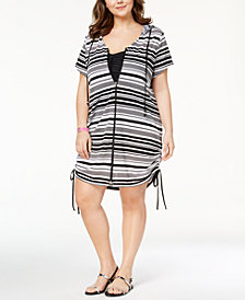 Dotti Plus Size Bali Beach Zip-Front Tunic Cover-Up