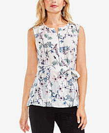 Vince Camuto Printed Keyhole Front-Tie Blouse