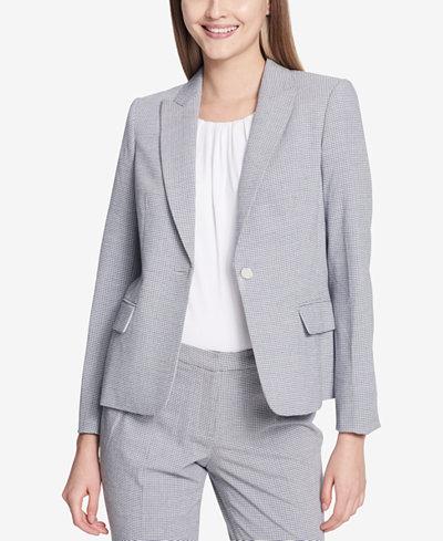 Calvin Klein One-Button Seersucker Jacket