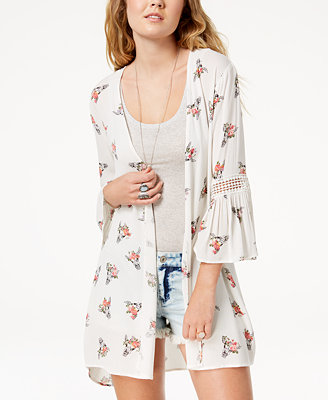 Juniors' Printed Bell Sleeved Kimono by Gypsies & Moondust