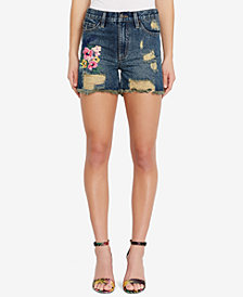 Buffalo David Bitton Cotton Ripped Denim Shorts