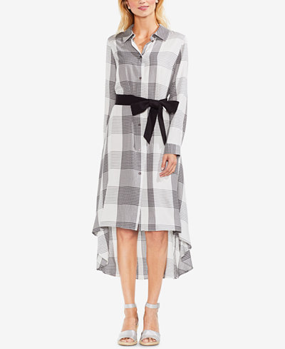 Vince Camuto Plaid High-Low Hem Shirtdress