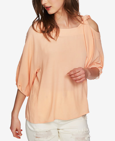 1.STATE Asymmetrical Tied Cold-Shoulder Top