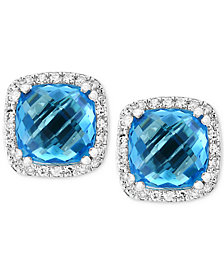 EFFY® Blue Topaz (4-1/3 ct. t.w.) & Diamond (1/6 ct. t.w.) Halo Stud Earrings in 14k White Gold