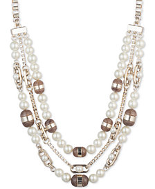 "DKNY Gold-Tone Colored Stone & Imitation Pearl Triple Row 16"" Collar Necklace, Created for Macy's"