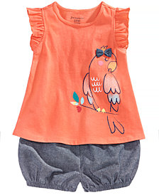 First Impressions Graphic-Print Tank Top & Shorts Separates, Baby Girls, Created for Macy's