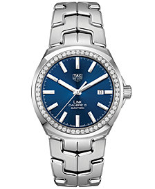 TAG Heuer Unisex Swiss Automatic Calibre 5 Link Diamond (1 1/10 ct. t.w.) Stainless Steel Bracelet Watch 41mm