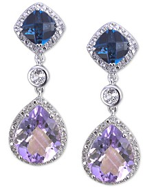 Amethyst (6 ct. t.w.) & London Blue Topaz (2 ct. t.w.) Drop Earrings in Sterling Silver