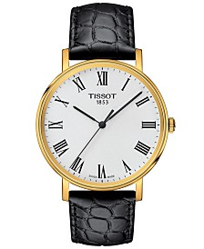 Tissot Unisex Swiss T-Classic Everytime Black Leather Strap Watch 38mm