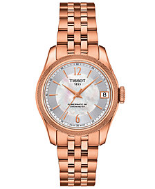 Tissot Women's Swiss Automatic T-Classic Ballade Rose Gold-Tone PVD Stainless Steel Bracelet Watch 30.6mm