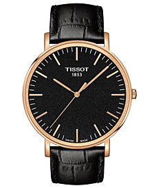 Tissot Men's Swiss T-Classic Everytime Black Leather Strap Watch 42mm