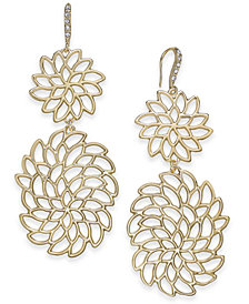 I.N.C. Gold-Tone Crystal Openwork Flower Drop Earrings, Created for Macy's