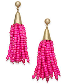 I.N.C. Gold-Tone Bead Fringe Drop Earrings, Created for Macy's