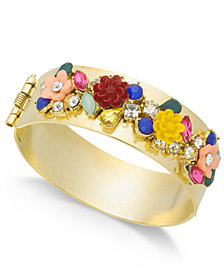 I.N.C. Gold-Tone Flower Motif Hinged Bangle Bracelet, Created for Macy's