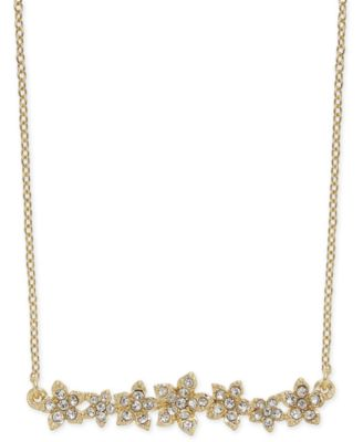 3 Extender Gold 16 INC International Concepts I.N.C International Concepts Crystal Cluster Flower Horizontal Bar Pendant Necklace