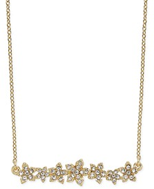 "Crystal Cluster Flower Horizontal Bar Pendant Necklace, 16"" + 3"" extender, Created for Macy's"