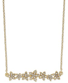"""I.N.C. International Concepts Crystal Cluster Flower Horizontal Bar Pendant Necklace, 16"""" + 3"""" extender, Created for Macy's"""