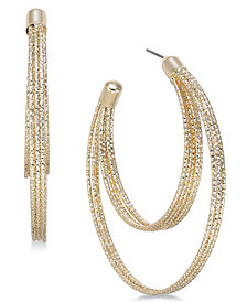 Thalia Sodi Gold-Tone Textured Double-Row Hoop Earrings, Created for Macy's