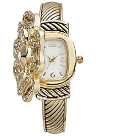 Women's Gold-Tone Flip Crystal Flower Bracelet Watch 35mm, Created for Macy's