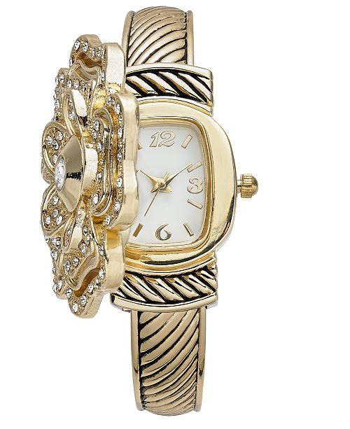 Charter Club Women's Gold-Tone Peek Flower Bracelet Watch 35mm, Created for Macy's