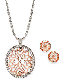 "Charter Club Two-Tone Pavé Filigree Oval Pendant Necklace & Stud Earrings, 17"" + 2"" extender, Created for Macy's"