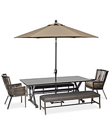 "CLOSEOUT! Savannah Outdoor 5-Pc. Dining Set (84"" x 42"" Rectangle Dining Table, 2 Captain Dining Chairs & 2 Benches) with Sunbrella® Cushions, Created for Macy's"