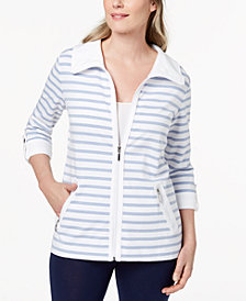 Karen Scott Petite Striped Wing-Collar Jacket, Created for Macy's