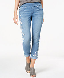 Style & Co Petite Embroidered Pull-On Cropped Boyfriend Jeans, Created for Macy's