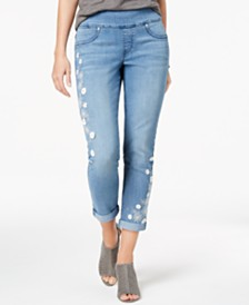 Style & Co Petite Embroidered Pull-On Ankle Boyfriend Jeans, Created for Macy's