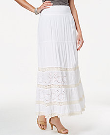 Style & Co Petite Crochet-Trim Maxi Skirt, Created for Macy's