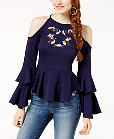 The Edit By Seventeen Juniors' Embroidered Cold-Shoulder Top, Created for Macy's