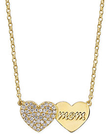 "kate spade new york Gold-Tone Pavé Heart Mom Pendant Necklace, 17"" + 3"" extender"
