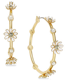 kate spade new york Gold-Tone Crystal & Imitation Pearl Flower Hoop Earrings