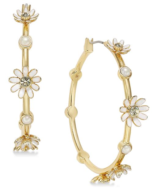 1999d29dc ... kate spade new york Gold-Tone Crystal & Imitation Pearl Flower Hoop  Earrings ...
