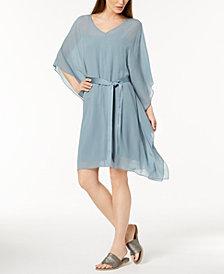 Eileen Fisher Silk Belted Caftan Dress