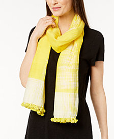 Eileen Fisher Organic Cotton & Silk Pom-Pom Scarf