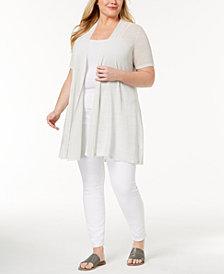 Eileen Fisher Organic Linen Plus Size Open-Front Cardigan